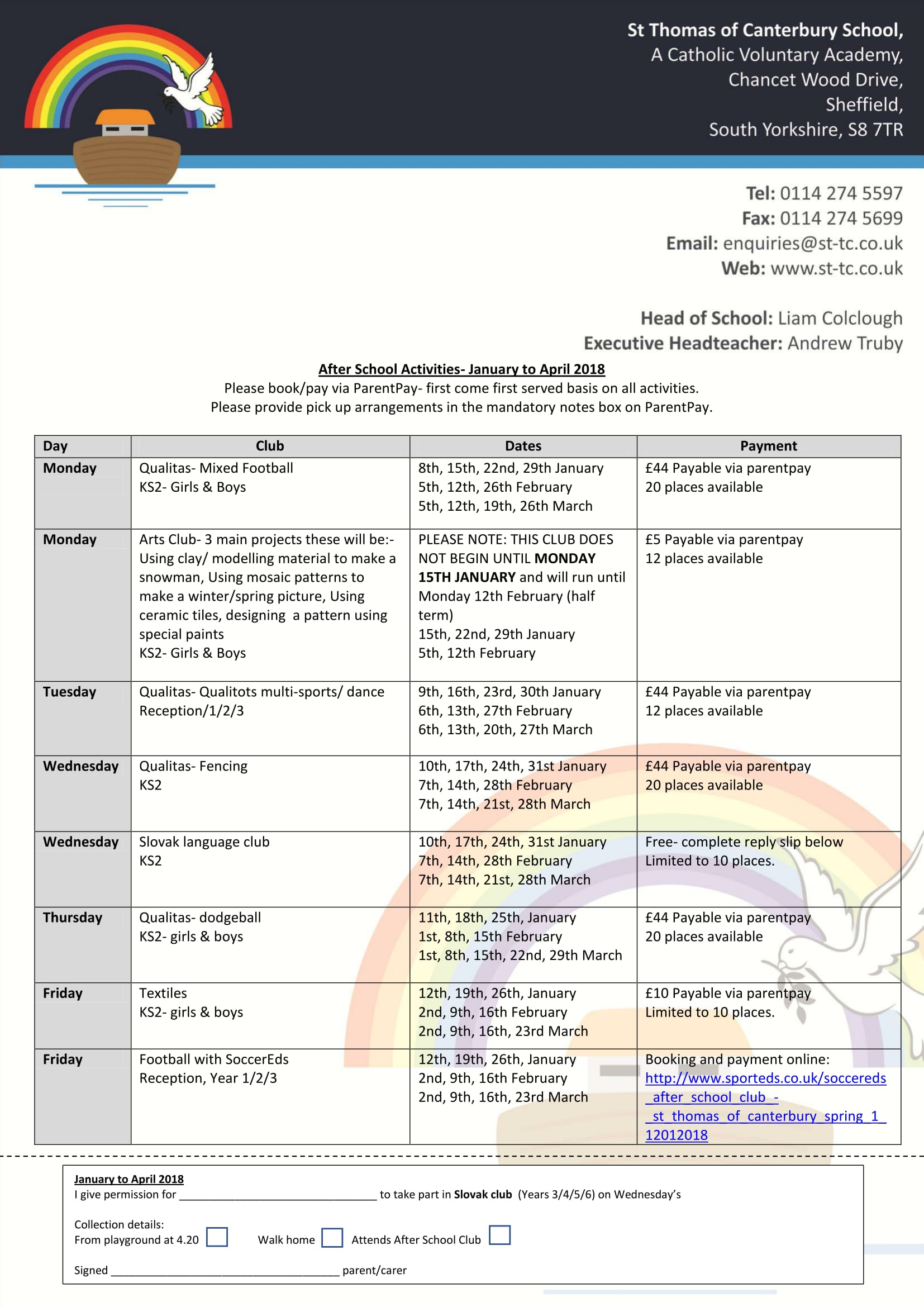 Afterschool Activities Jan to April 18 1